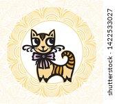 cute cartoon cat and beautiful... | Shutterstock .eps vector #1422533027
