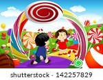 boy,candy,candy land,cartoon,childhood,children,clip-art,clipart,colorful,dessert,drawing,dreamy,fantasy,female,food
