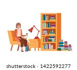 woman sitting in the work... | Shutterstock .eps vector #1422592277