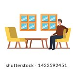 man sitting in the work office... | Shutterstock .eps vector #1422592451