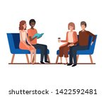 group of people with sitting in ... | Shutterstock .eps vector #1422592481