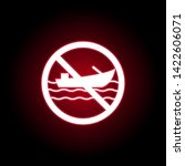 forbidden boat icon in red neon ...