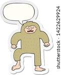 Stock vector cartoon bigfoot with speech bubble sticker 1422629924