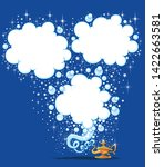 magic lamp with speech bubble... | Shutterstock .eps vector #1422663581