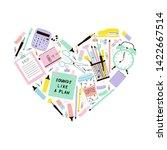 stationery items in heart shape ... | Shutterstock .eps vector #1422667514