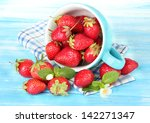 ripe sweet strawberries in cup... | Shutterstock . vector #142271347