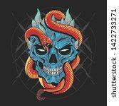 skull head punk and snake... | Shutterstock .eps vector #1422733271