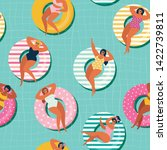 summer gils on inflatable in... | Shutterstock .eps vector #1422739811