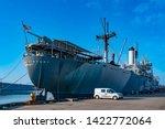 Tampa Bay, Florida. April 28, 2019. American Victory Ship and Museum at Tampa Bay Port. - stock photo