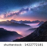 Milky Way Over Mountains In Fo...