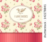 vintage card with roses and a... | Shutterstock .eps vector #142278841