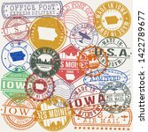 des moines iowa set of stamps.... | Shutterstock .eps vector #1422789677