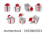 various white boxes with red... | Shutterstock .eps vector #1422863321