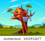abandoned house on tree  empty...   Shutterstock .eps vector #1422912677