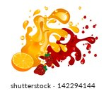 fruit juice splash with orange... | Shutterstock .eps vector #142294144