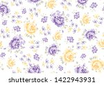 roses pattern with leaves and... | Shutterstock .eps vector #1422943931