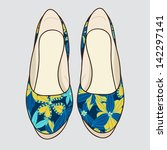 vector shoes with floral pattern   Shutterstock .eps vector #142297141