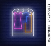 clothes on rack neon sign.... | Shutterstock .eps vector #1422973871