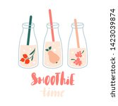 smoothie time. set of smoothies ... | Shutterstock .eps vector #1423039874