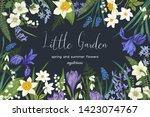 little garden. vector botanical ... | Shutterstock .eps vector #1423074767