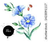 watercolor hand drawn flax... | Shutterstock . vector #1423091117