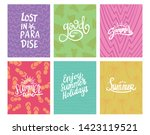 summer theme typography with... | Shutterstock .eps vector #1423119521