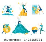people and money set isolated... | Shutterstock .eps vector #1423165331