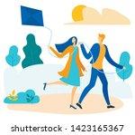 happy cartoon couple flying... | Shutterstock .eps vector #1423165367