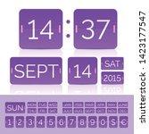 purple vector flip calendar... | Shutterstock .eps vector #1423177547