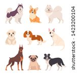 cute dogs collection. vector... | Shutterstock .eps vector #1423200104
