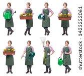 Young Smiling Woman Professional Gardener - Fine Art prints