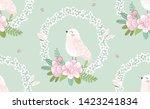sweet bird with flowers...   Shutterstock .eps vector #1423241834