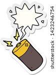 cartoon battery with speech... | Shutterstock .eps vector #1423246754