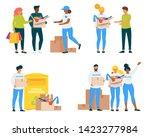 volunteers with clothing... | Shutterstock .eps vector #1423277984