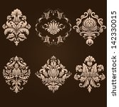 vector set of damask ornamental ... | Shutterstock .eps vector #142330015