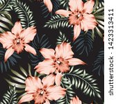 tropical orchid flowers and... | Shutterstock .eps vector #1423313411