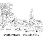 sea coast graphic yacht sea bay ... | Shutterstock .eps vector #1423315217