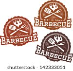 Vintage Style Barbecue BBQ Design Elements - stock vector