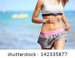 runner woman with heart rate... | Shutterstock . vector #142335877
