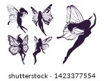 cute fairy art. beautiful... | Shutterstock .eps vector #1423377554