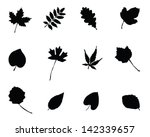 set of silhouettes of foliage 2 ... | Shutterstock .eps vector #142339657
