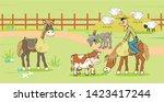 farm life  cowboy riding  calf  ... | Shutterstock .eps vector #1423417244