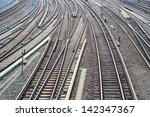 railroad tracks at a train... | Shutterstock . vector #142347367