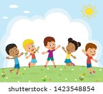kids boys and girls jump on a... | Shutterstock .eps vector #1423548854
