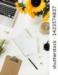 modern home office desk... | Shutterstock . vector #1423574837