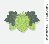 green hop cones. hop cone logo. ... | Shutterstock .eps vector #1423609847