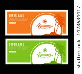 green and orange banner design. ... | Shutterstock .eps vector #1423634417