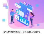 isometric concept young... | Shutterstock .eps vector #1423639091