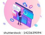 isometric concept young girl... | Shutterstock .eps vector #1423639094