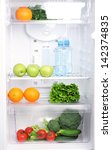 open refrigerator with... | Shutterstock . vector #142374835
